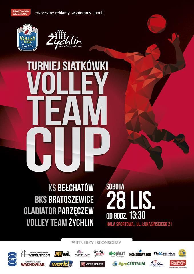 Plakat. Turniej Siatkówki Volley Team Cup. 28.11.2015.