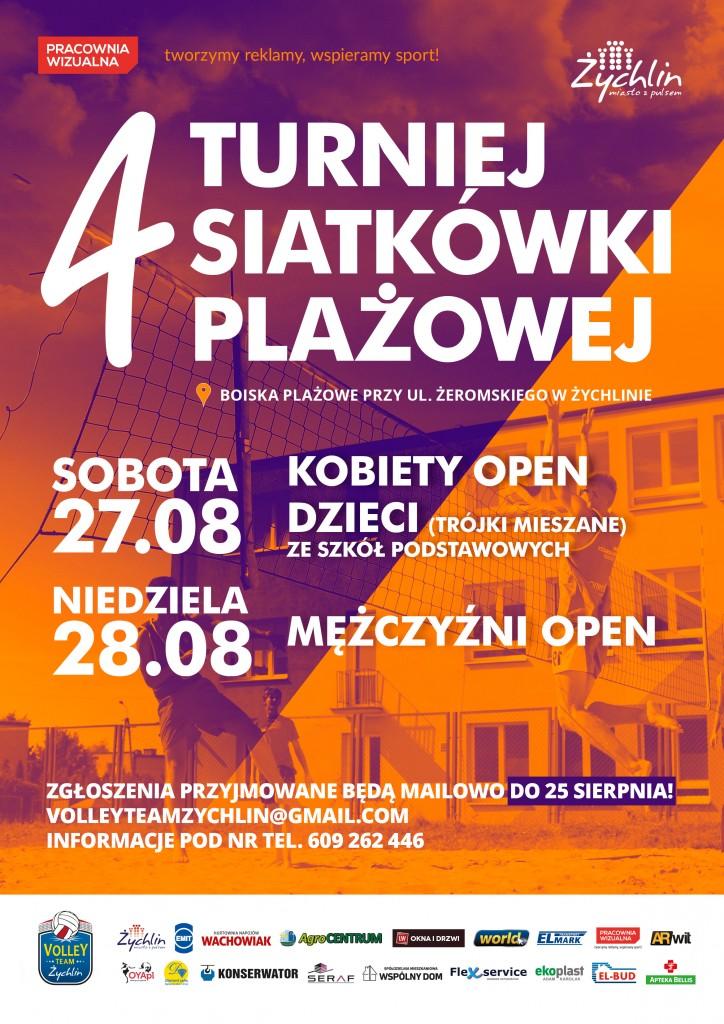 Plakat. 4 Turniej Siatkówki plażowej. 27-28.08.2016 r.